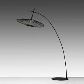 "Black ""Carpa"" Arc Floor Light with Woven Shade"