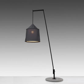 "Black ""Jaima"" Arc Floor Lamp on Light Grey Concrete  Base with Dark Grey Textilene Shade"