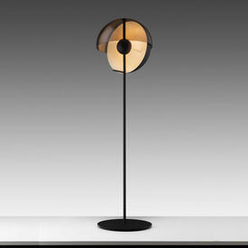 """Black """"Theia"""" Floor Lamp with Black Metal &  Smoked Perspex Domed Shade"""