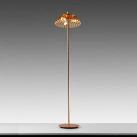 Copper Floor Lamp with Rose Faceted Glass Shade (Plus 3 Diffusers)