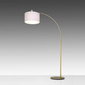 "Champagne Gold ""Gricia"" Arc Floor Lamp with White Drum Shade"