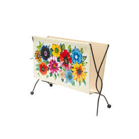 Cream Metal Floral Painted Magazine Rack