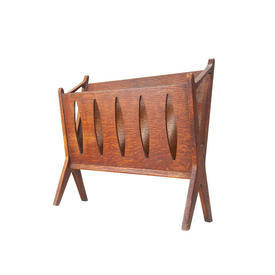 Rosewood Magazine Rack with Oval Cut Out Sides