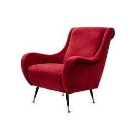 Red Velvet Scroll High Back Chair on Black & Gold Legs