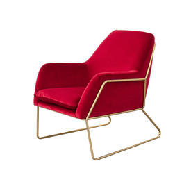 Red Velvet Armchair on Gold Frame