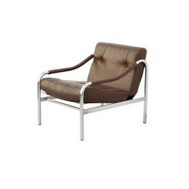 Brown Leather & Chrome  Arm Chair