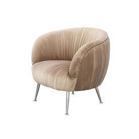 Beige Ribbed Velvet Tub Chair on Chrome Legs