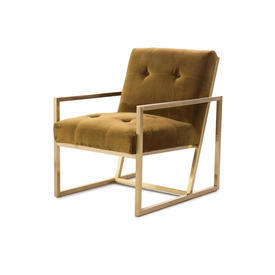Olive Green Velvet Chair with Arms on  Gold Frame