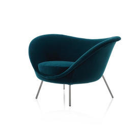 Teal Velvet Gio Ponti Armchair with Black Chrome Legs