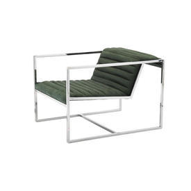 Chrome & Green Ribbed ''Atlanta'' Chair with Chrome Arms