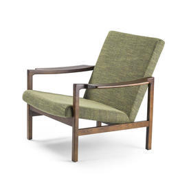 Green Fabric ''Brazilia'' Chair with Arms on Wood Frame