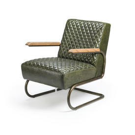 Green Quilted Leather ''Swing'' Chair with Arms