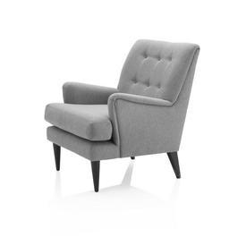 Grey Fabric Buttoned Armchair