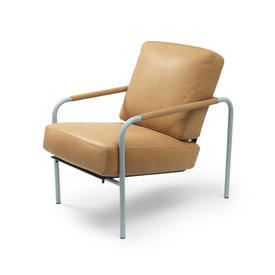 "Tan Leather ""Susanna"" Chair on Pale Blue Frame"