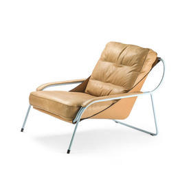 "Tan Leather ""Maggiolina"" Arm Chair on Pale Blue Frame"