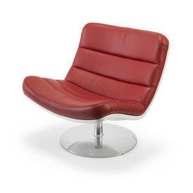 White Lacquer & Ribbed Red Leather F978 Swivel Chair on Chrome Base