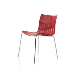 "Slatted Red Lacquer ""Airy"" Dining Chair on Chrome Legs"