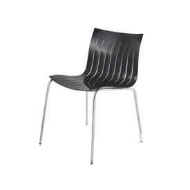 "Slatted Black Lacquer ""Airy"" Occasional Chair on Chrome Legs"