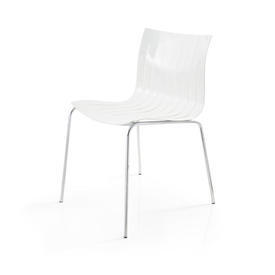"Slatted White Lacquer ""Airy"" Dining Chair on Chrome Legs"