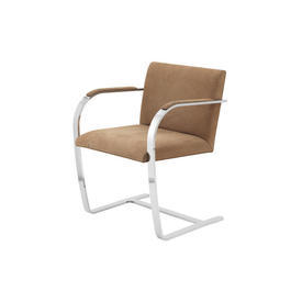 "Chrome & Brown Suede ""Brno"" Dining Chair"