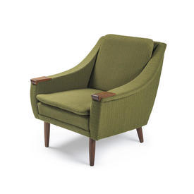 Green Tweed Striped Armchair with Wooden Arms