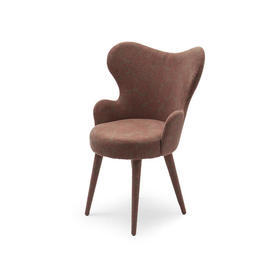 Burgundy Damask Small Bedroom Wing Chair