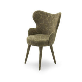 Green Damask Small Bedroom Wing Chair