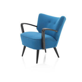 Ocean Blue Fabric And Black Wooden Retro Chair with Arms