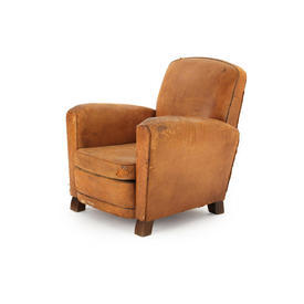 Tan Leather Distressed Club Chair