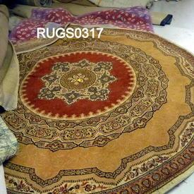 6' Circular Beige/Dark Red Centre Pattern Afghan Rug