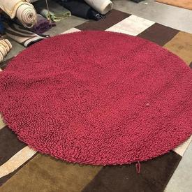 Large Circ (2M Diam) Raspberry Red Looped 'Bloom' Rug
