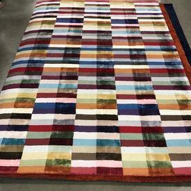 230 X 160Cm Multi Colour Brick Pattern Viscose Pile Rug