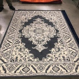 230 X 160Cm White & Navy Diamond Centre Traditional Fine Loop Tufted Rug
