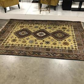 260Cm X 178Cm Brown And Gold Kryptonian Pattern Fringed Rug