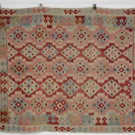 193 X 152Cm Red, Blu & Pink Fringed Traditional Kilim Rug