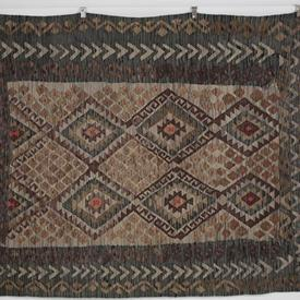 217 X 182Cm Brown, Beige, Teal with Red Dot Diamond Centre Pattern Kilim Rug