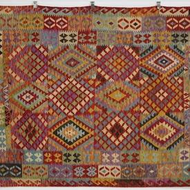 254 X 184Cm Multi Colour, Multi Shaped Patterned Traditional Kilim Rug