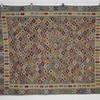 200 X 164Cm Blue with Multi Coulored Diamond Centre Fringed Kilim Rug