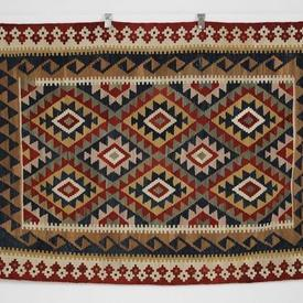 182 X 124Cm Dark Red, Navy & Gold Diamond Centre Boarder Kilim Rug
