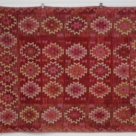243 X 185Cm Red, Pink And Orange Patterned Traditional Kilim Rug