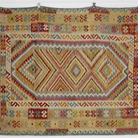 254 X 181Cm Beige with Multi Colour Symmetrical Pattern Kilim Rug