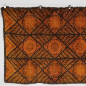 194Cm X 144Cm Brown Line & Orange Circ Vintage Autumnal Rug