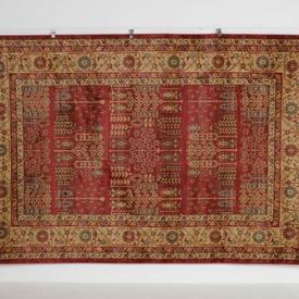 300 X 200Cm Red & Rust Gold Floral Pattern Boarder Rug