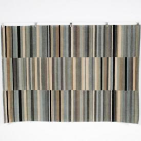 240 X 165Cm Blue, Beige & Black Multi Stripe Pile Rug