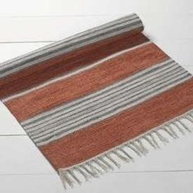 180Cm X 120Cm Rust with White & Grey Stripes Dhurrie Rug