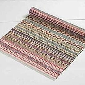 180Cm X 120Cm Beige with Pink Green Pattern Line Dhurrie Rug