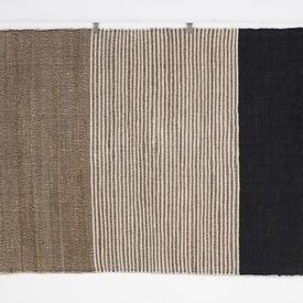 234Cm X 163Cm Black, Beige Stripe, Pebble Patt Triple Section Fringed Rug