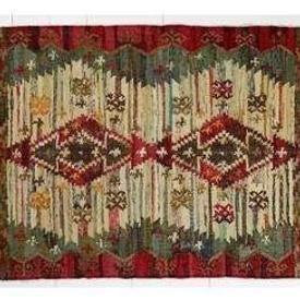 180Cm X 120Cm Red Boarder Diamond Centre Fringed Punja Rug