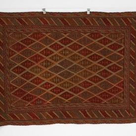 198Cm X 146Cm Orange, Red & Green Diamond Centre Boarder Fringed Rug