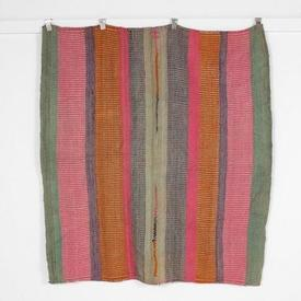 158Cm X 145Cm Pink Orange Purle & Green Line Patt Throw Rug